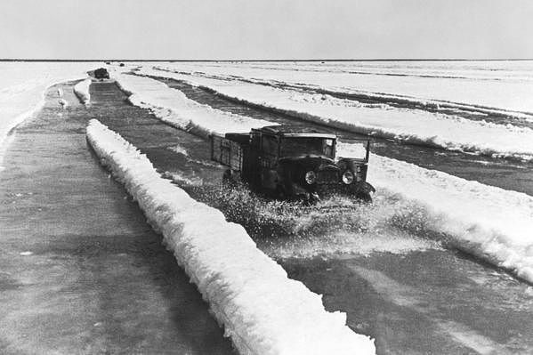 One of the last runs of the winter across the  lifeline on Lake Ladoga taking food to the besieged Leningrad.