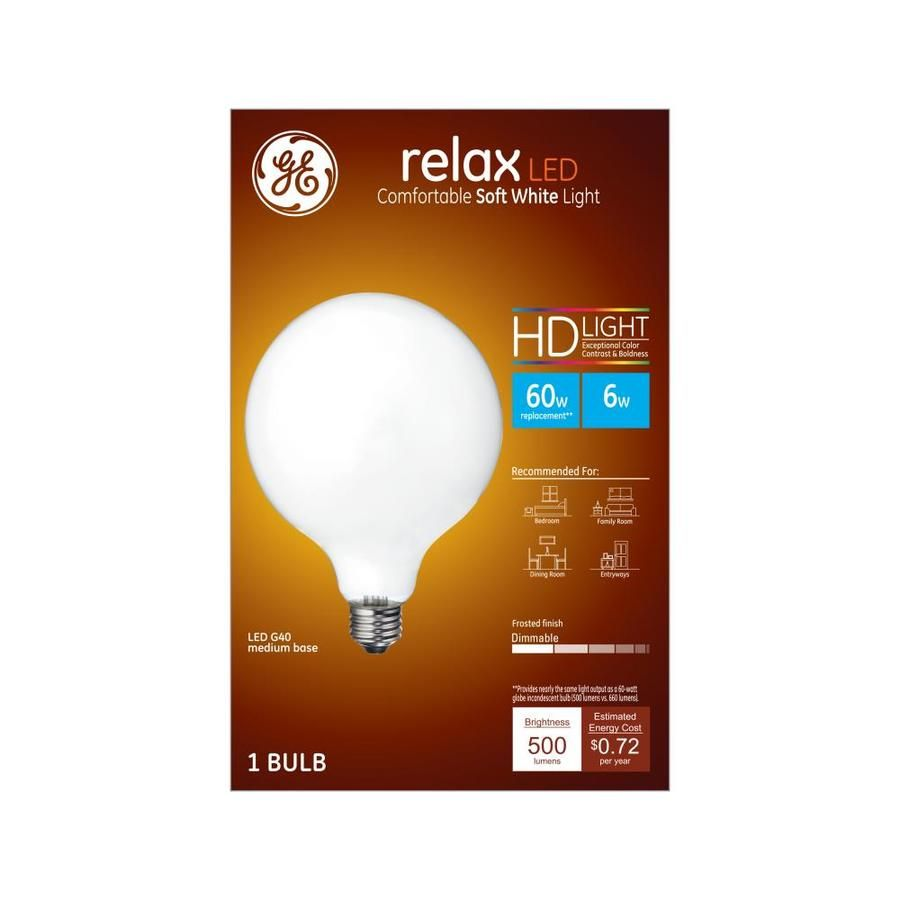 Ge Relax 60 Watt Eq Soft White Dimmable Globe Light Bulb At Lowes Com With Images Light Bulb Globe Light Bulbs Globe Bulb