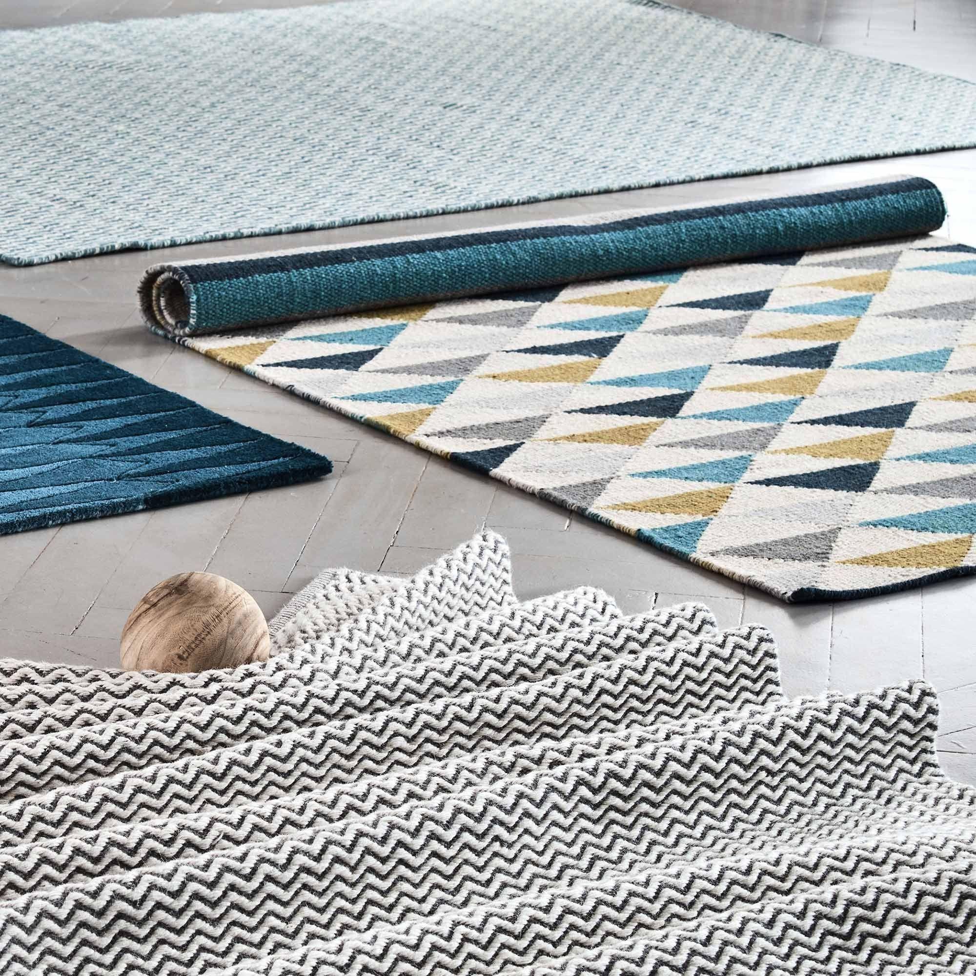 Handgewebter Trend Teppich Modern Marokkanisches Design Fransen In Schwarz Weiß