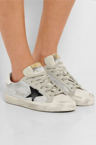 Golden Goose Deluxe Brand - Distressed leather-paneled mesh sneakers
