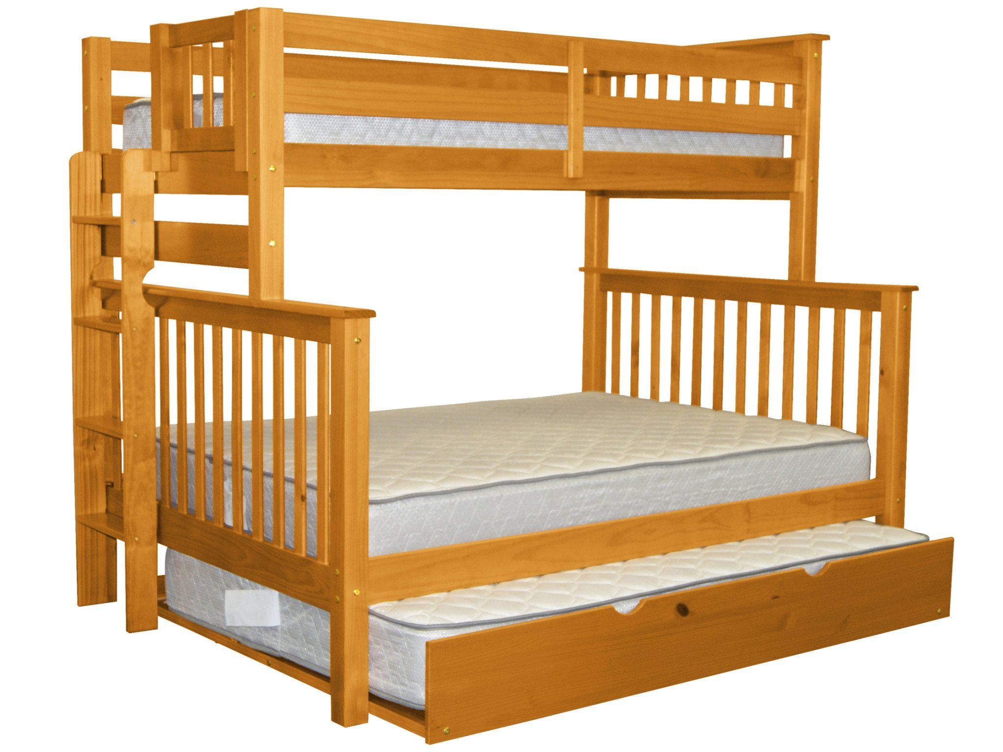Loft bed twin over queen  Bedz King Mission Style Bunk Bed Twin over Full with End Ladder and