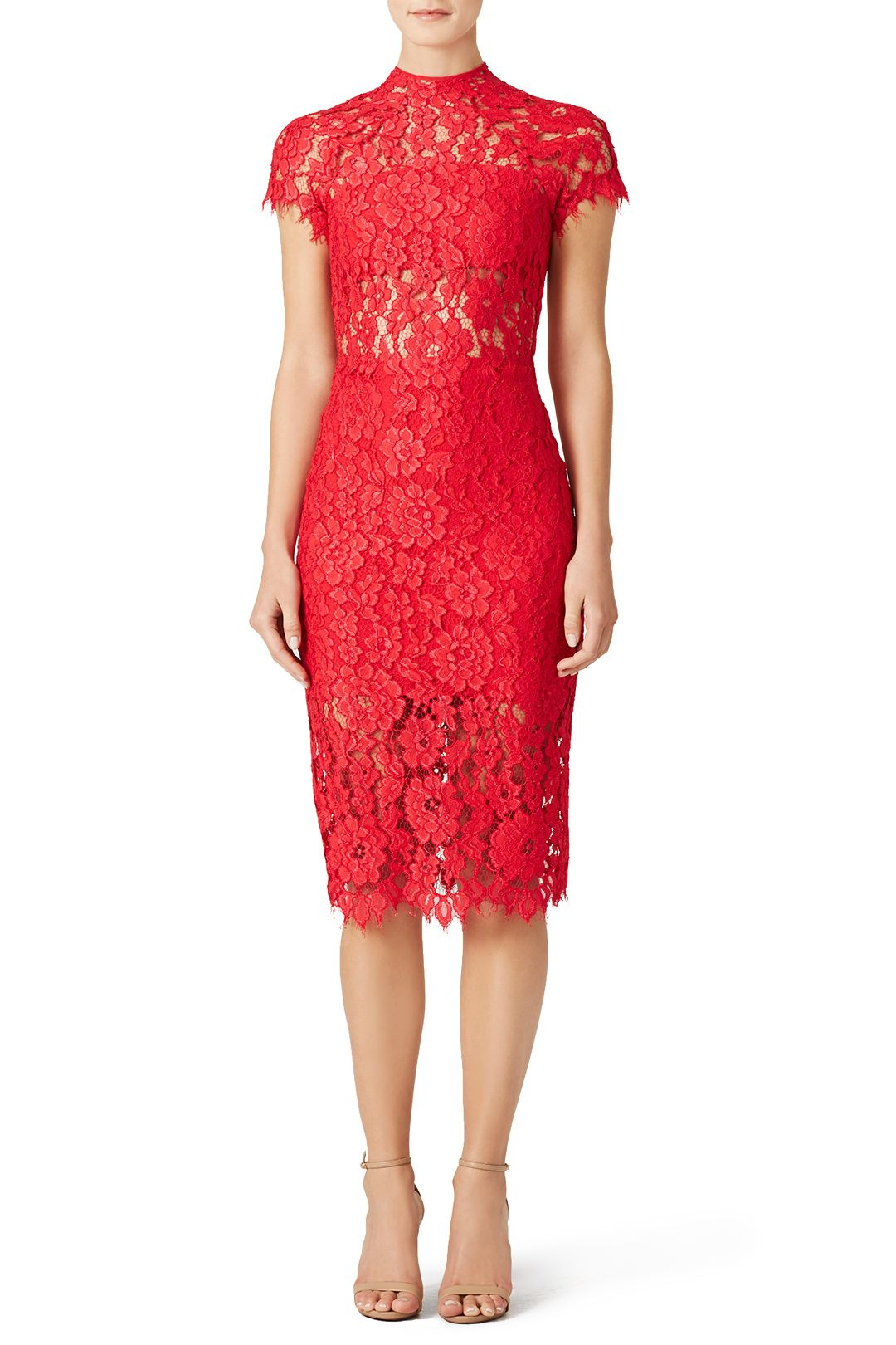 d4c03747d79 Red lace cap sleeve dress with sheer panels. Perfect for a summer rehearsal  dinner! Alexis Red Leona Dress