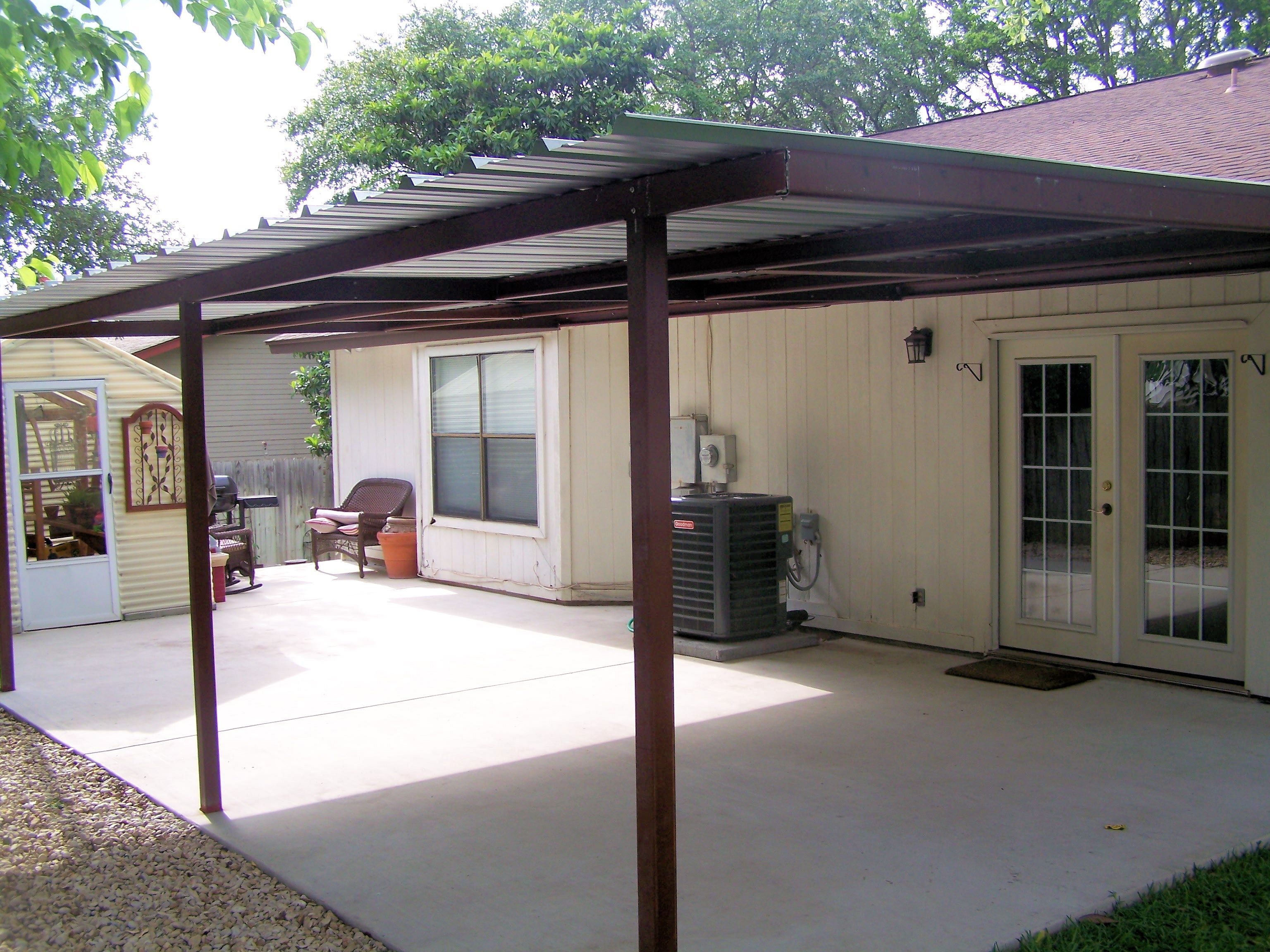 Attached lean to patio cover north west san antonio for Car lean to