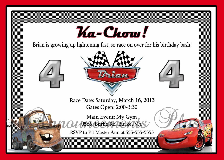 5x7 Cars Birthday Invitation | Disney Cars | Pinterest | Cars ...
