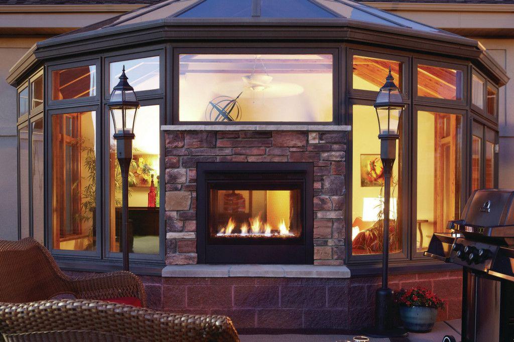 Double Sided Gas Fireplace Indoor Outdoor Indoor Outdoor
