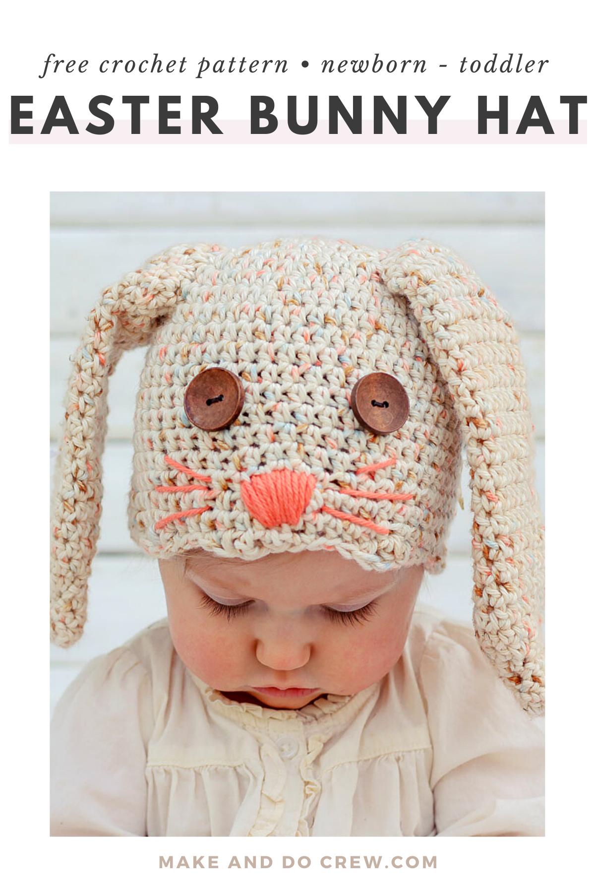 Free Crochet Bunny Hat Pattern Newborn Toddler Make Do Crew In 2020 Newborn Crochet Patterns Crochet Beanie Pattern Crochet Bunny