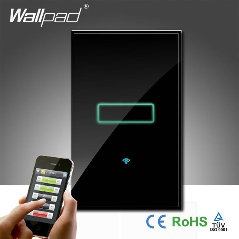 Wallpad Black Luxury Glass 110 250v Au Us 120 1 Gang Wireless Wifi