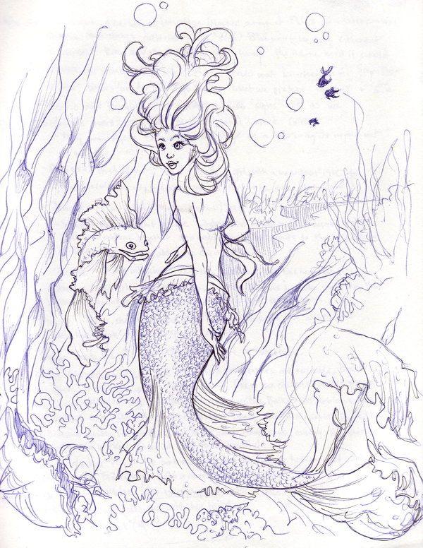 Red Fin Mermaid Sketch by *illogan on deviantART
