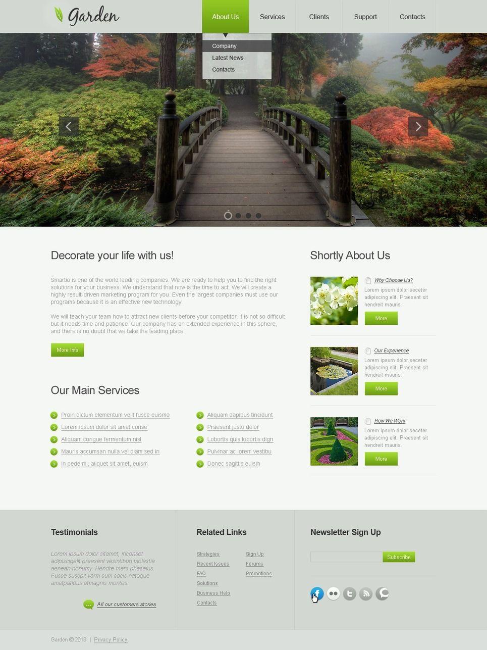 Garden Design Responsive Website Template 42981 Garden Design Website Template Garden Design Layout