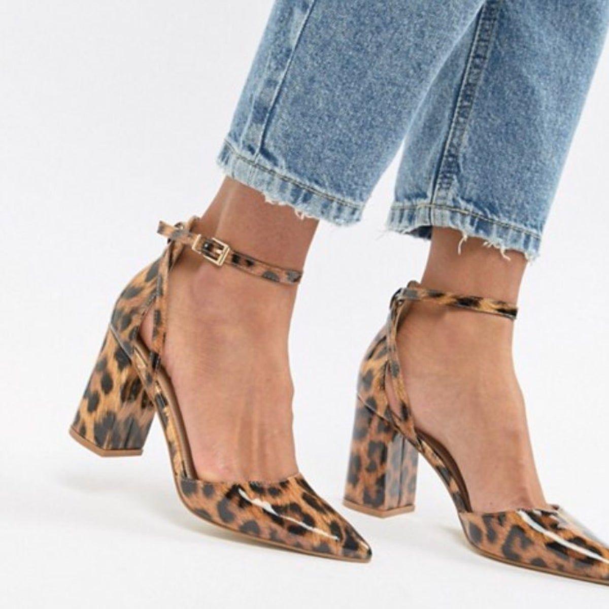 leopard print block heels Asos in 2020