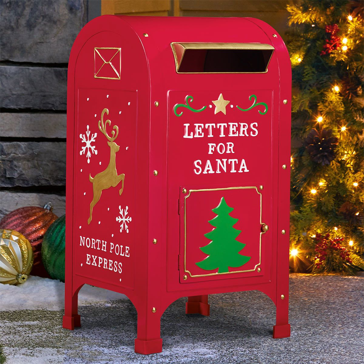 23 Inch 60cm Letters For Santa North Pole Express Metal Mailbox Costco Uk Office Christmas Decorations Santa North Pole North Pole
