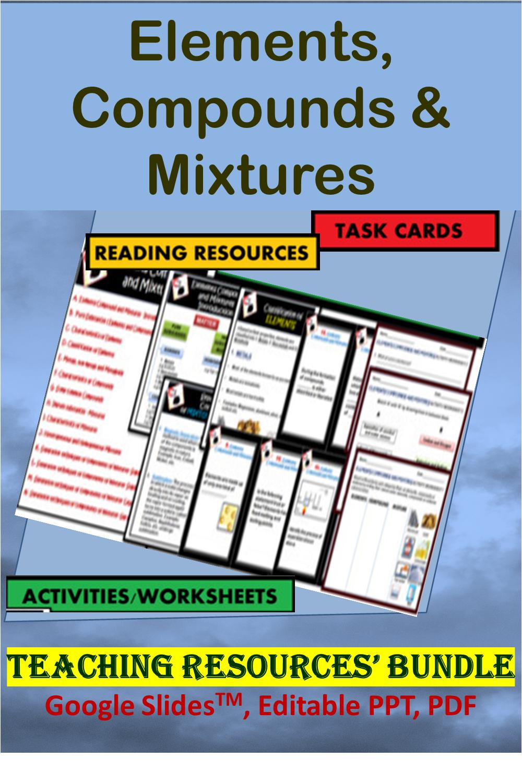 Elements Compounds Mixtures Bundle Google Slidestm Editable Ppt Pdf Compounds And Mixtures Reading Task Cards Teaching Resources [ 1500 x 1000 Pixel ]