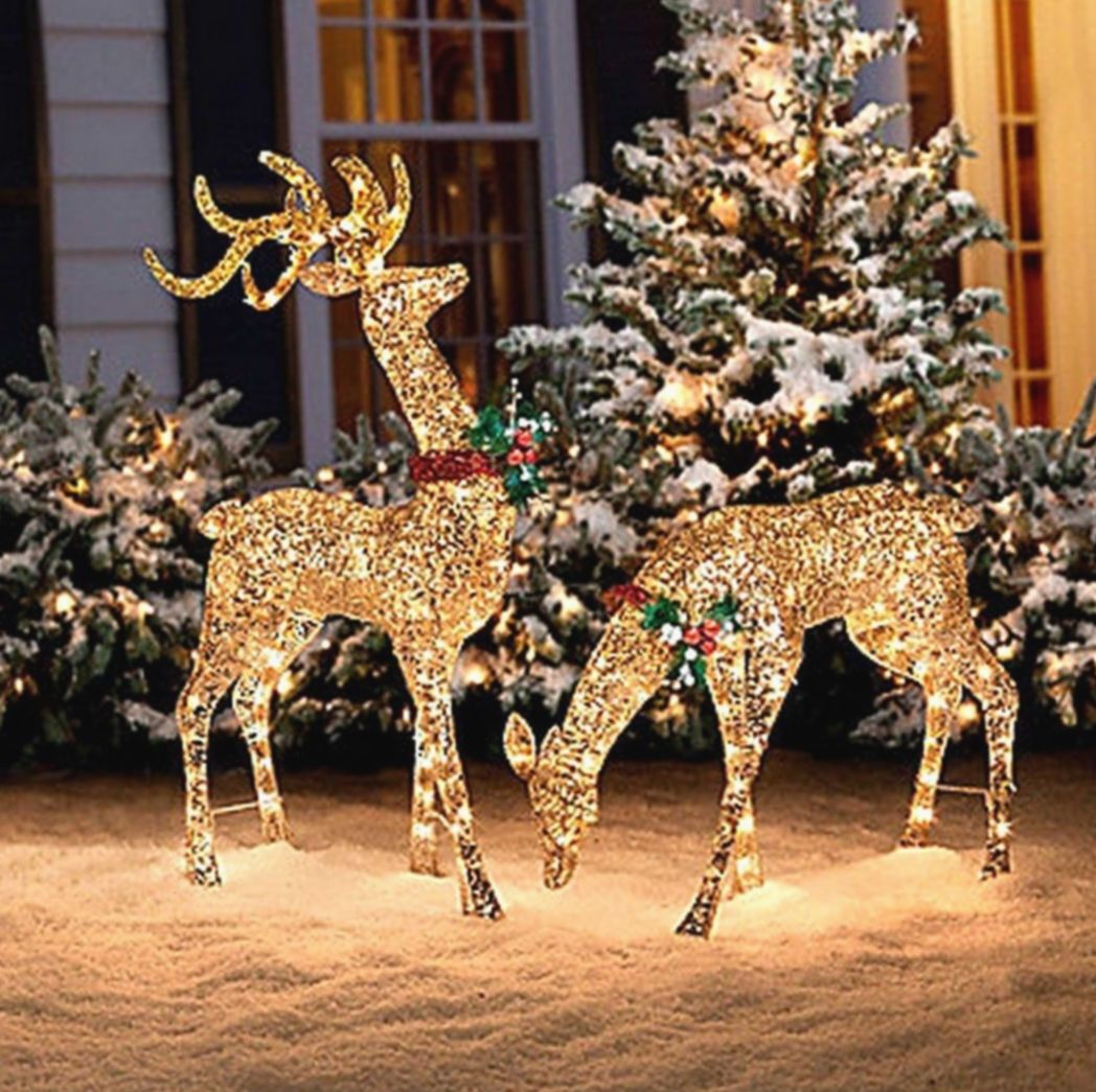 Christmas Decor Ideas Outdoor Sled Christmascountdown Christmascards Ch In 2020 Christmas Deer Decorations Christmas Decorations Diy Outdoor Diy Christmas Lights