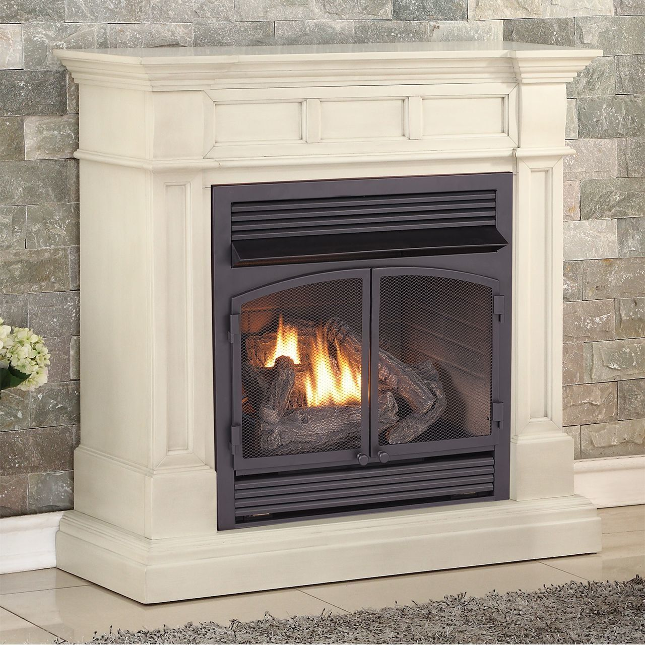 Vent Free Freestanding Natural Gas Propane Fireplace Vent Free