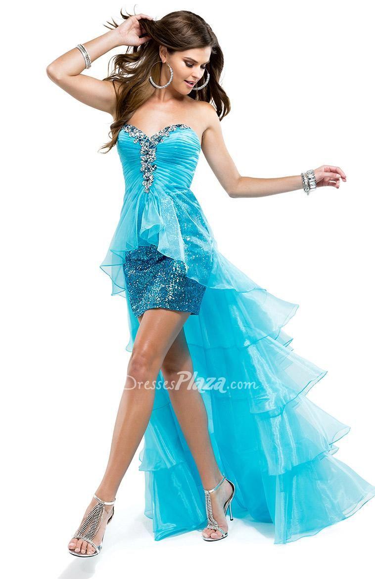strapless sequin mini prom dress organza high low | Prom dresses ...