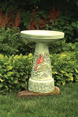 Summer Cardinal Set Summer Cardinal Birdbath Top With Glazed Interior And Pedestal Set Hand Painted Made Fro Ceramic Bird Bath Bird Bath Bird Bath Fountain