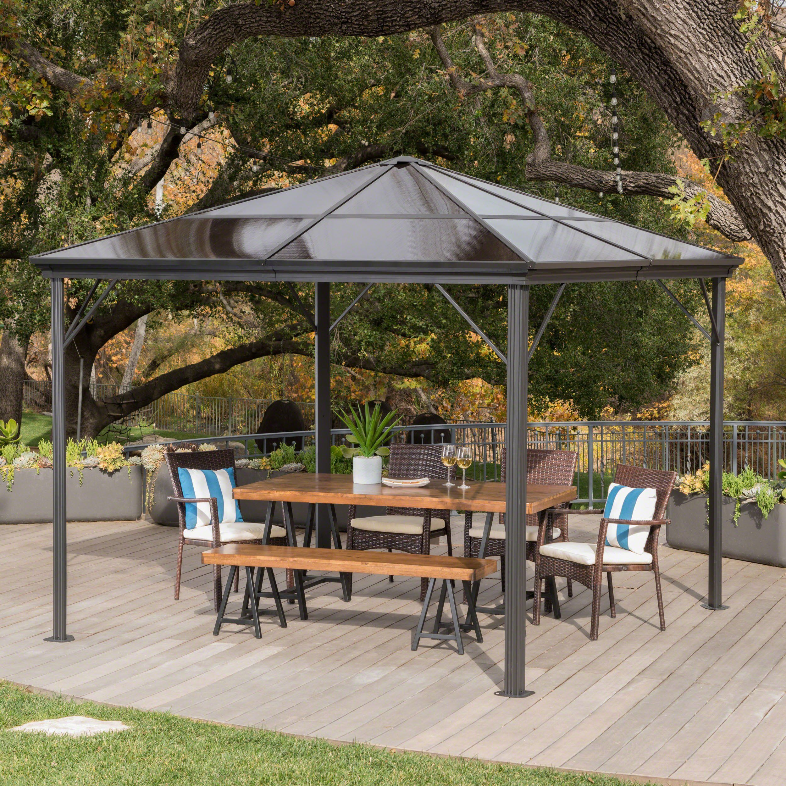 Halley Outdoor 10 X 10 Foot Black Rust Proof Aluminum Framed Hardtop Gazebo No Curtains Patio Gazebo Pergola Hardtop Gazebo