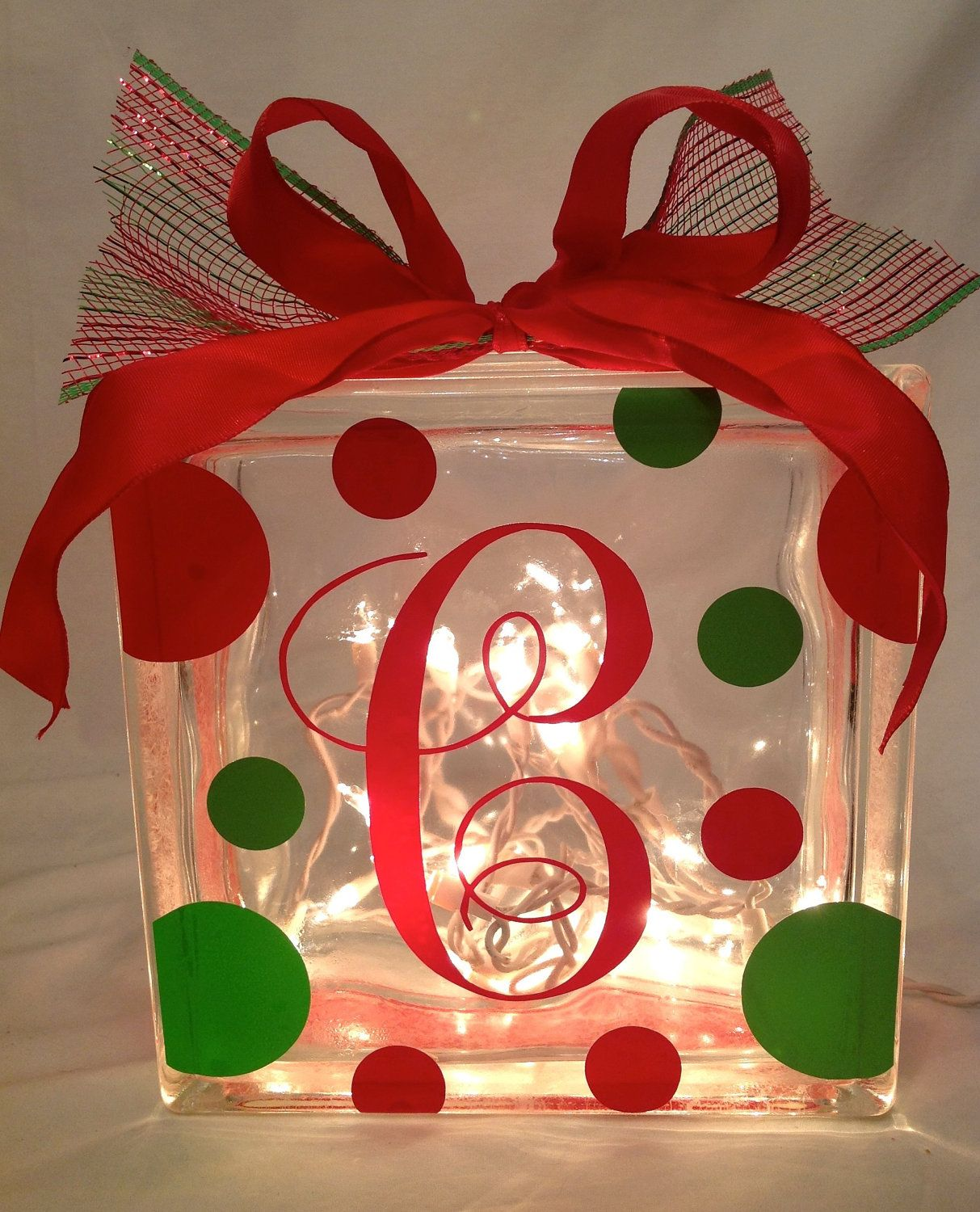 personalized christmas glass block with lights polka dots ribbon 2500 via etsy