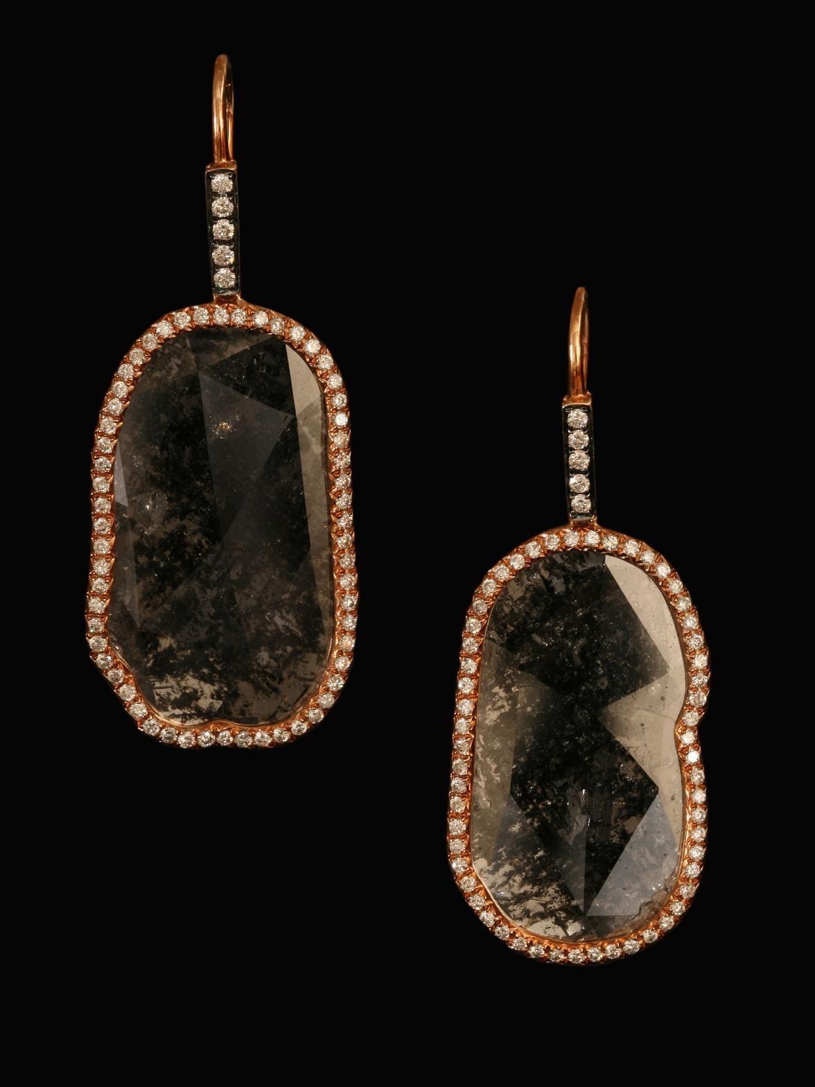 Sliced Diamond Drop Earrings