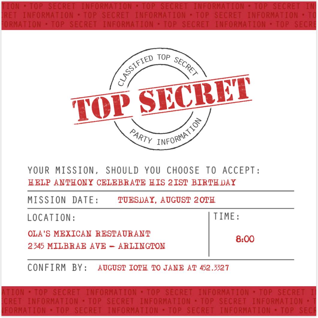 Top secret Invitations Pinterest – Top Secret Party Invitations