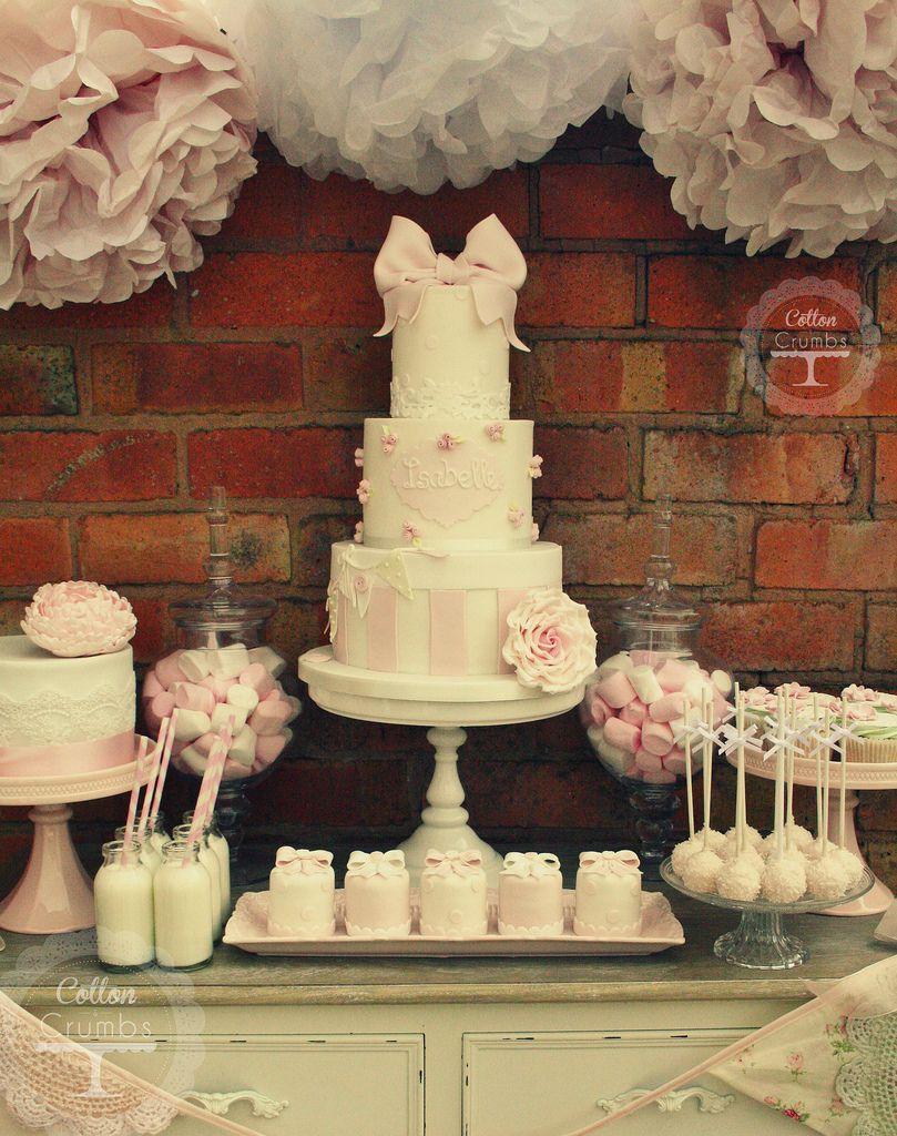 Wedding cake table decoration ideas  Isabelleus christening desert table  White chocolate strawberries
