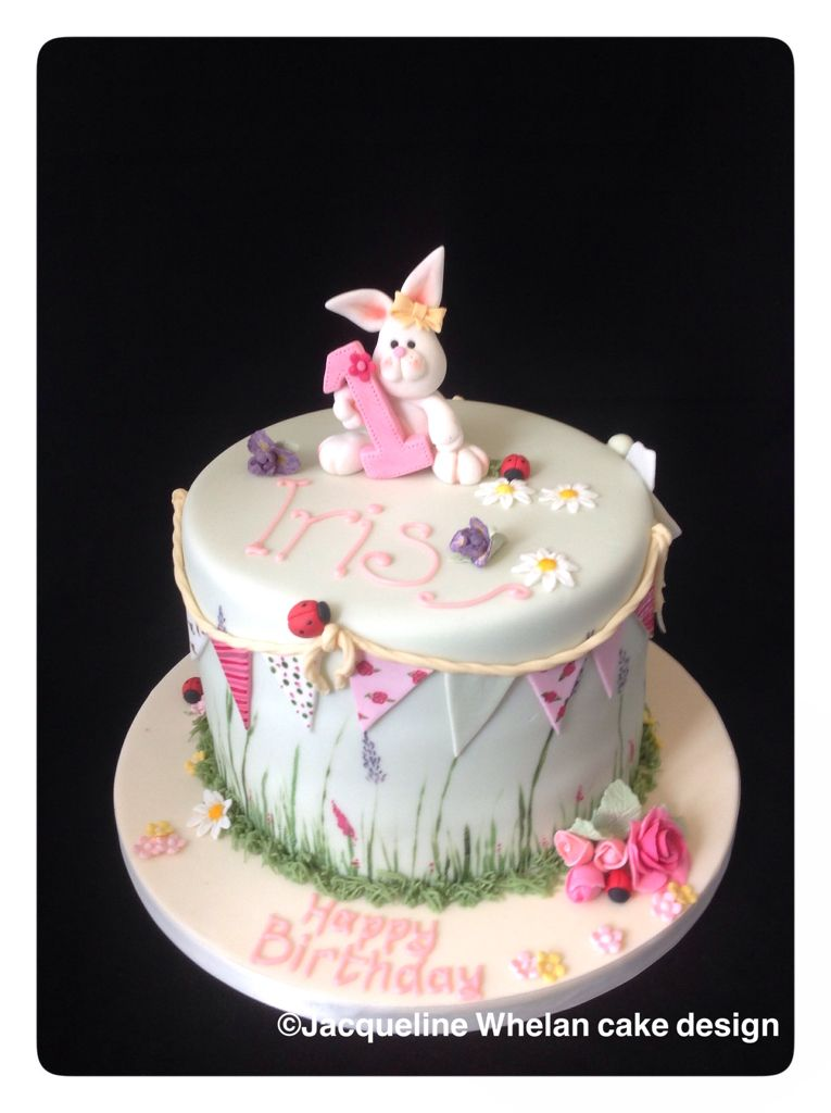 Beautiful bunting rabbit girls 1st birthday cake Cake