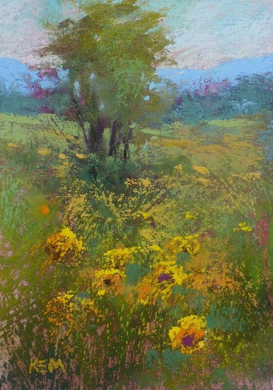 'Into the Sunflower Field' 5x7 pastel ©Karen Margulis