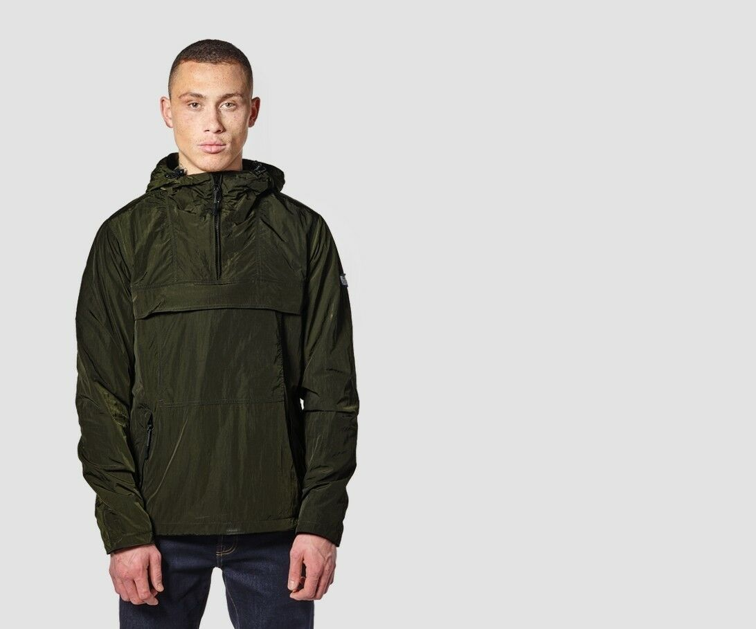 WEEKEND OFFENDER Kerouac olive green half-zip cagoule jacket size small-3XL