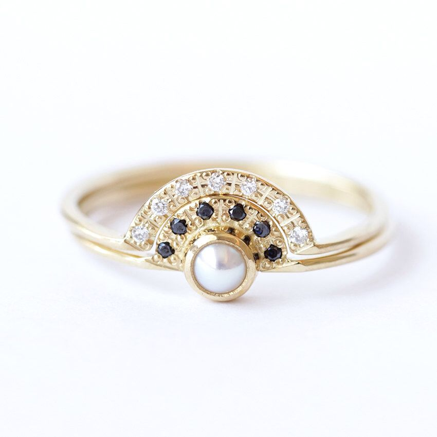 Double Crown Wedding Set with Pearl Engagement Ring and a Pave Diamond Wedding Ring by artemer on Etsy https://www.etsy.com/listing/201229898/double-crown-wedding-set-with-pearl