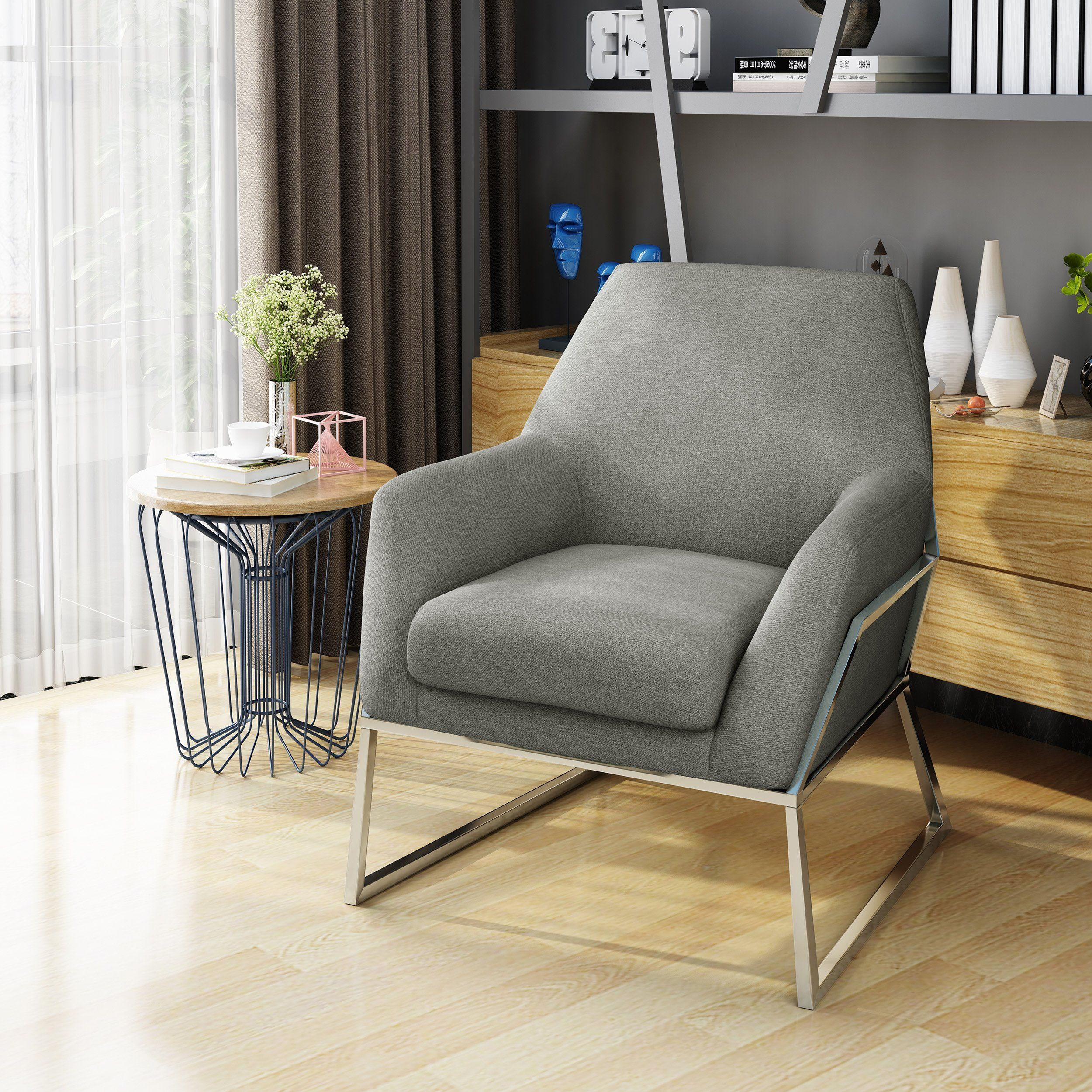 Zach Modern Fabric Armchair With Stainless Steel Frame