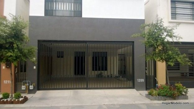 Puerta de garage corrediza de fierro con barrotes verticales portones pinterest portones - Puertas de cochera ...
