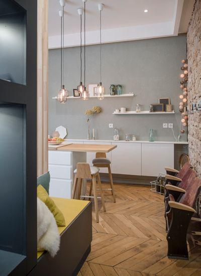 Home sweet home, lyon, place sathonay, appartement, rénovation - agencement de cuisine ouverte