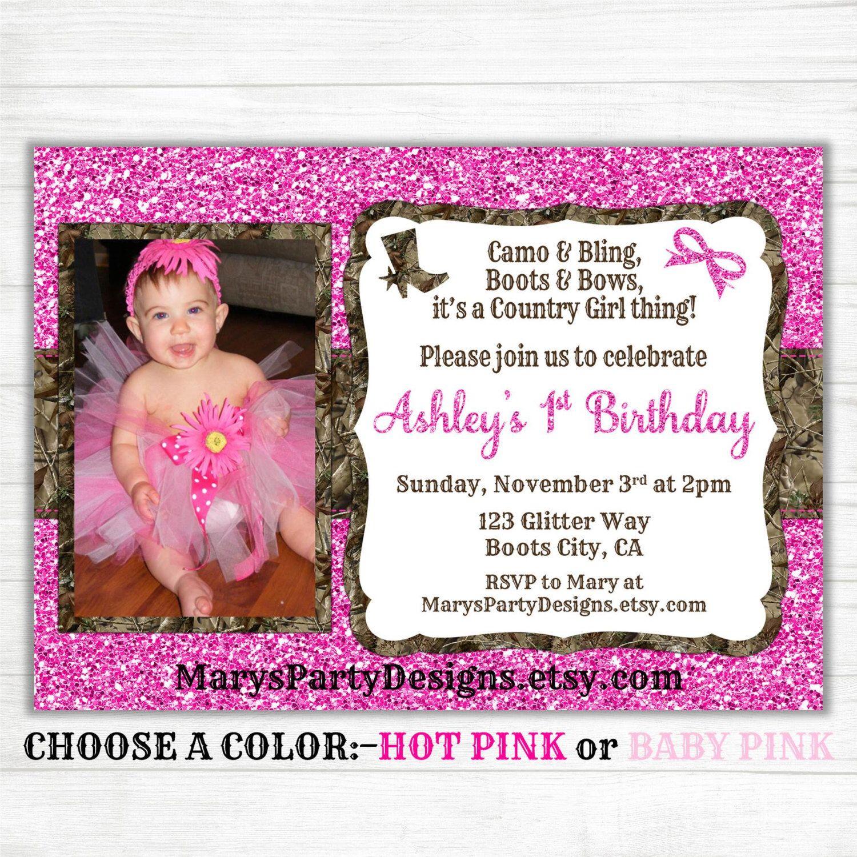 Pink Camo Birthday Invitation Hunting Girl Glitter Pink