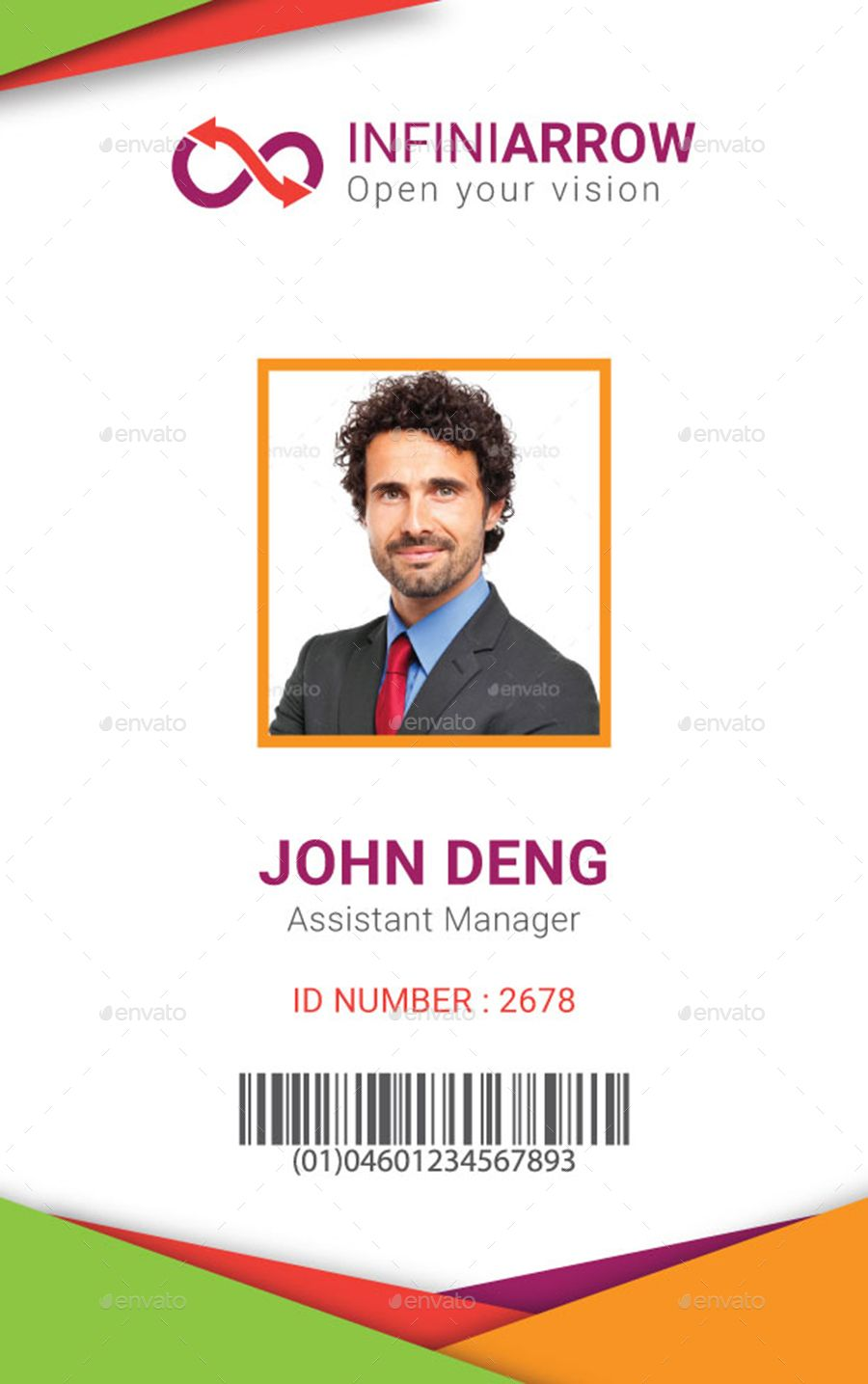 Employee Id Card Template Free Download Elegant Abstract Id Card Template With Flat Design Vector Employee Id Card Vector Business Card Id Card Template
