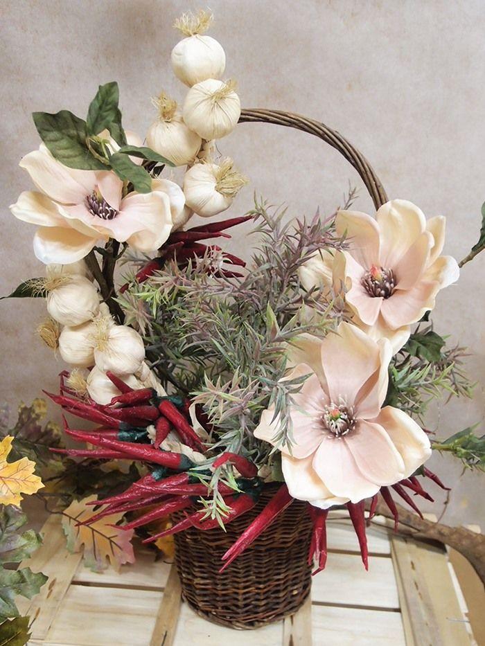 cestini di fiori finti