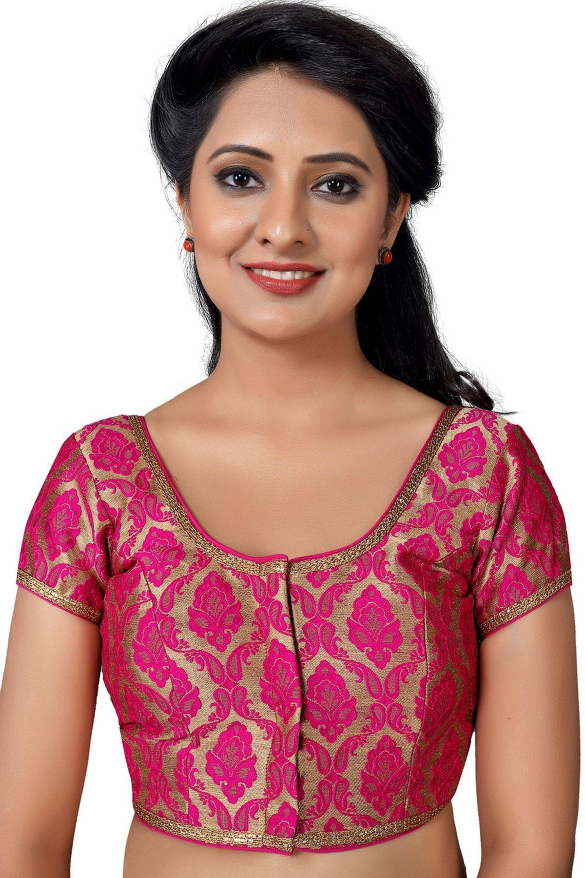 c7423d50ee69d Pink   Gold Designer Banarasi Brocade Blouse-BL1781