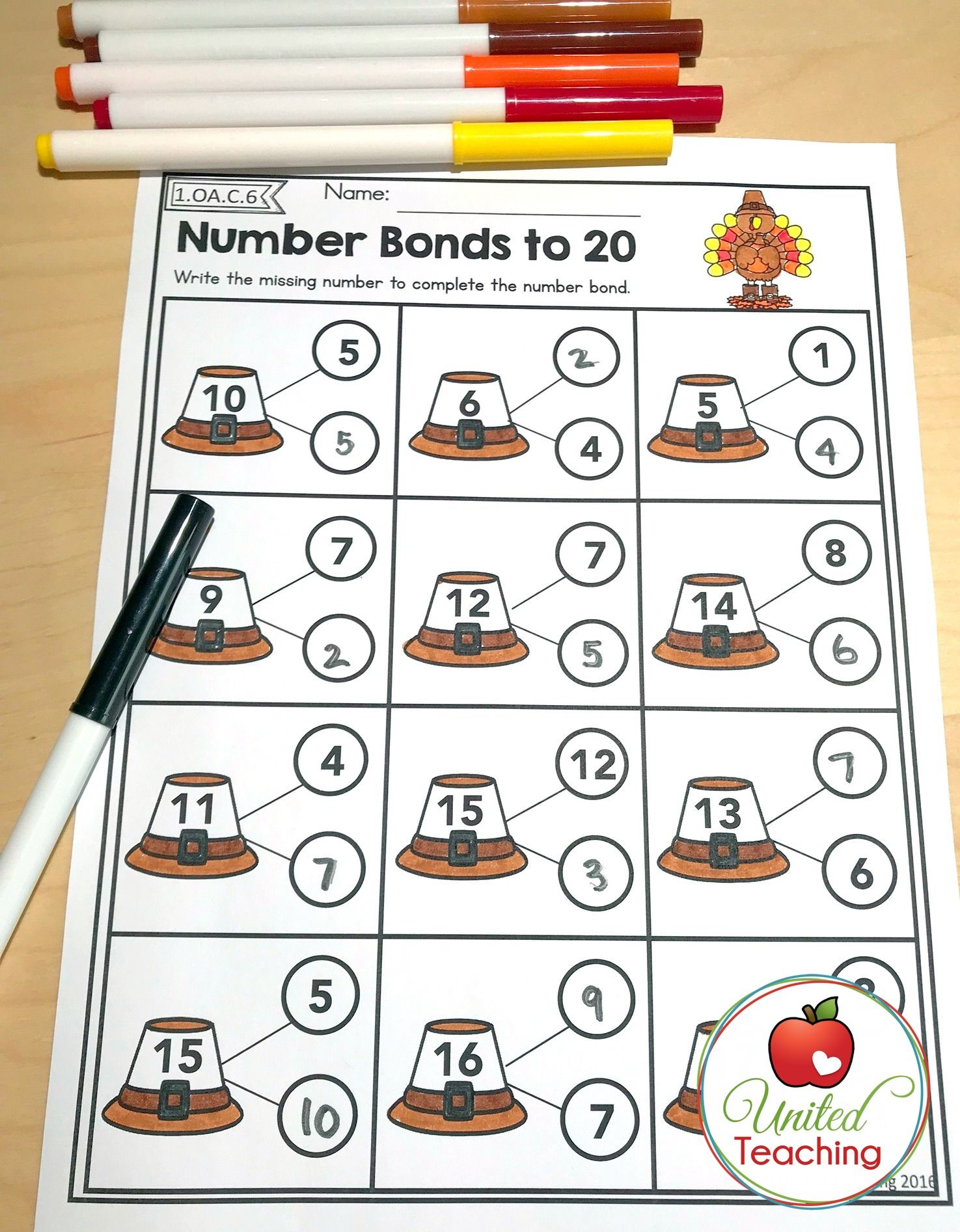 Thanksgiving Math Worksheets 1st Grade