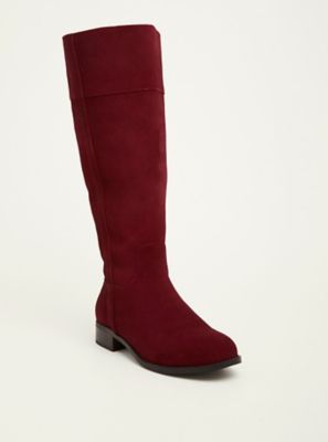 ea9bcb0bdf2 Wide Width Faux Suede Pull Tab Knee-High Boots in Red - Wide Width   Wide  Calf