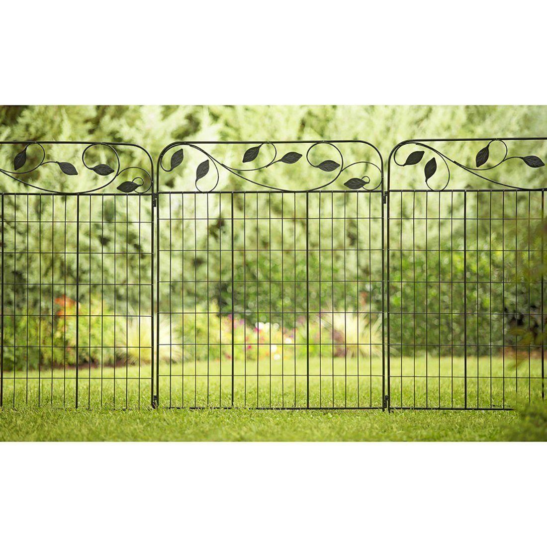 Amagabeli Decorative Garden Fence 36 X 44 X 2 Panels Metal Wire Fencing Outdoor Patio Decor Landscape Folding Black Wrought Iron Border Edging Section Flower B Decorative Garden Fencing Patio Fence Metal Garden Fencing