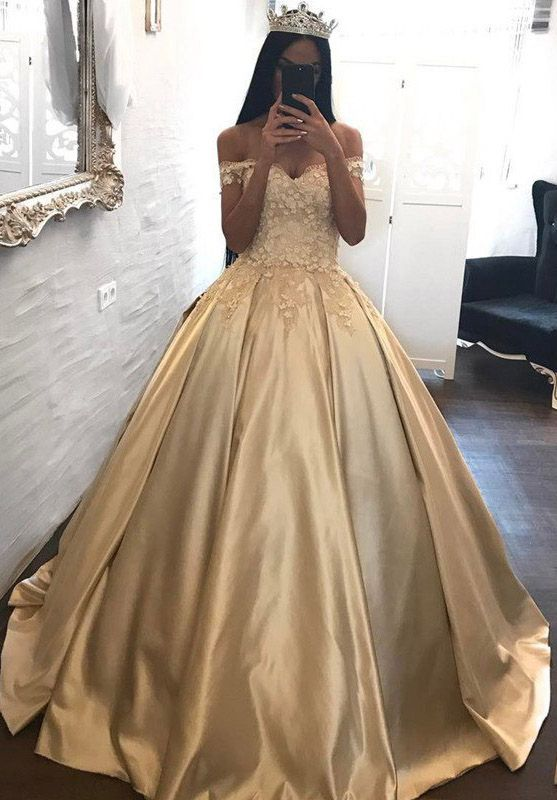 Gold #BallGowns Off the Shoulder Appliqued Satin Long #Quinceanera ...