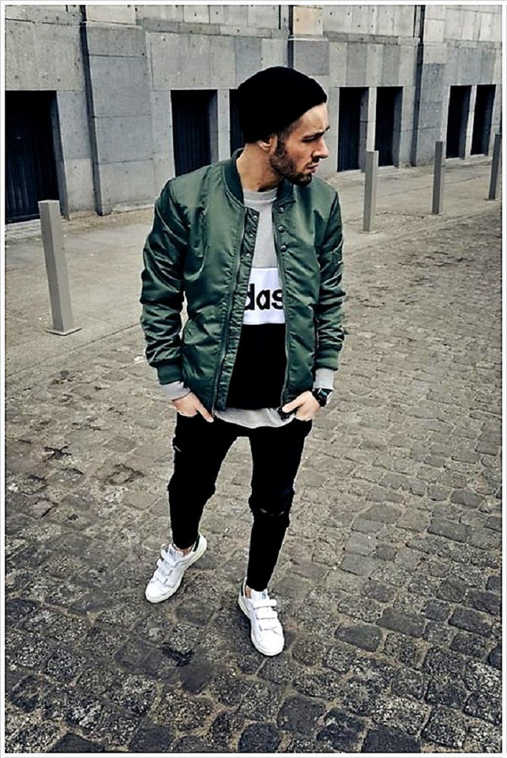 a7731c0af37 Simple but effective bomber jacket outfits