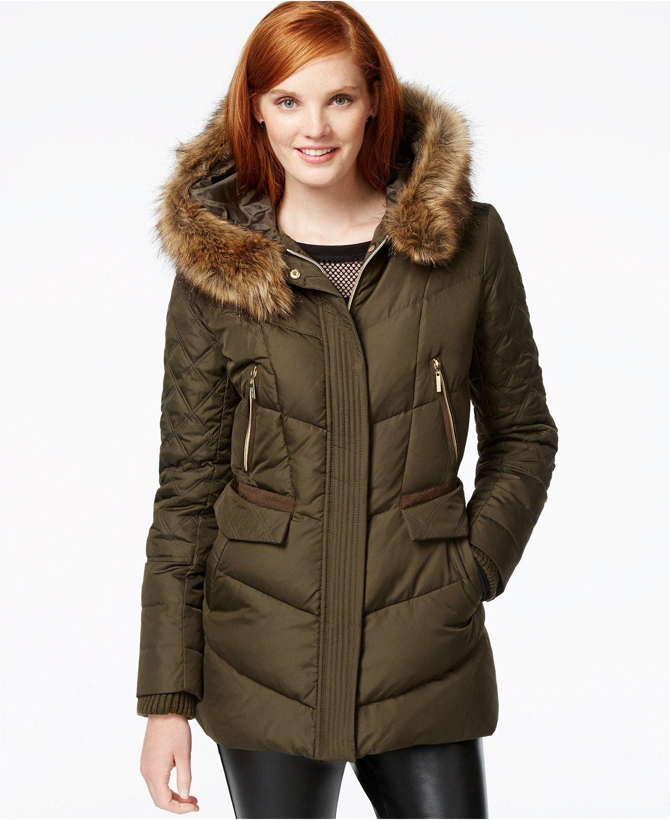 2804e3122 kensie Faux-Fur-Trim Quilted Puffer Coat - Coats - Women - Macy's ...