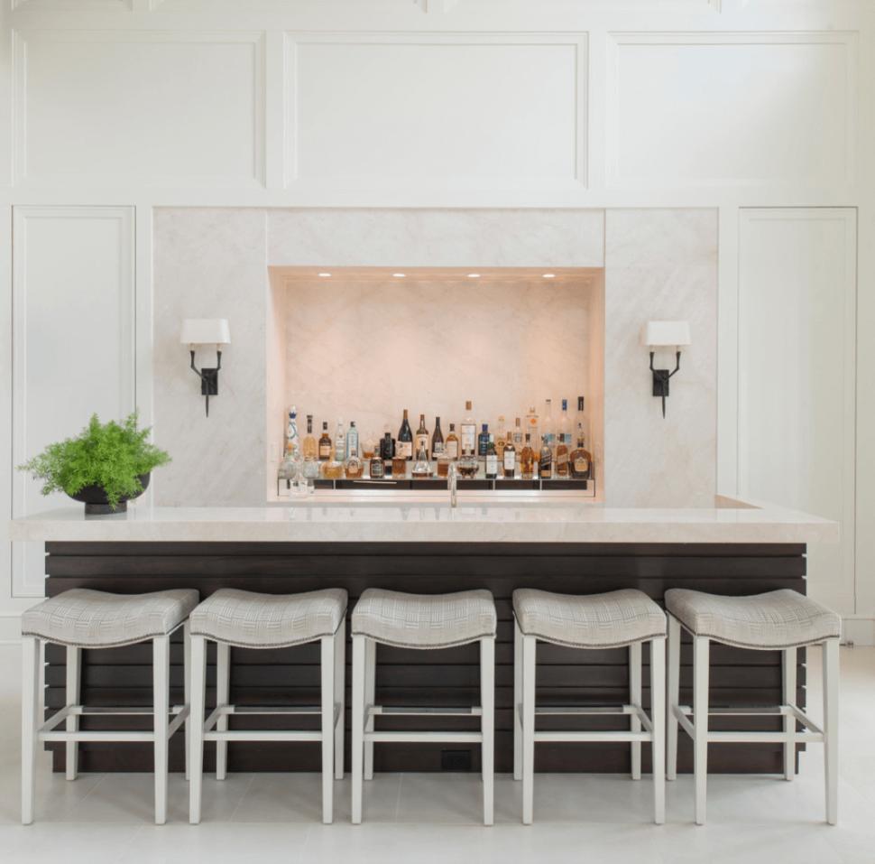 Ideas:White Marble Bar Grey Bar Stools White Flooring Double White ...
