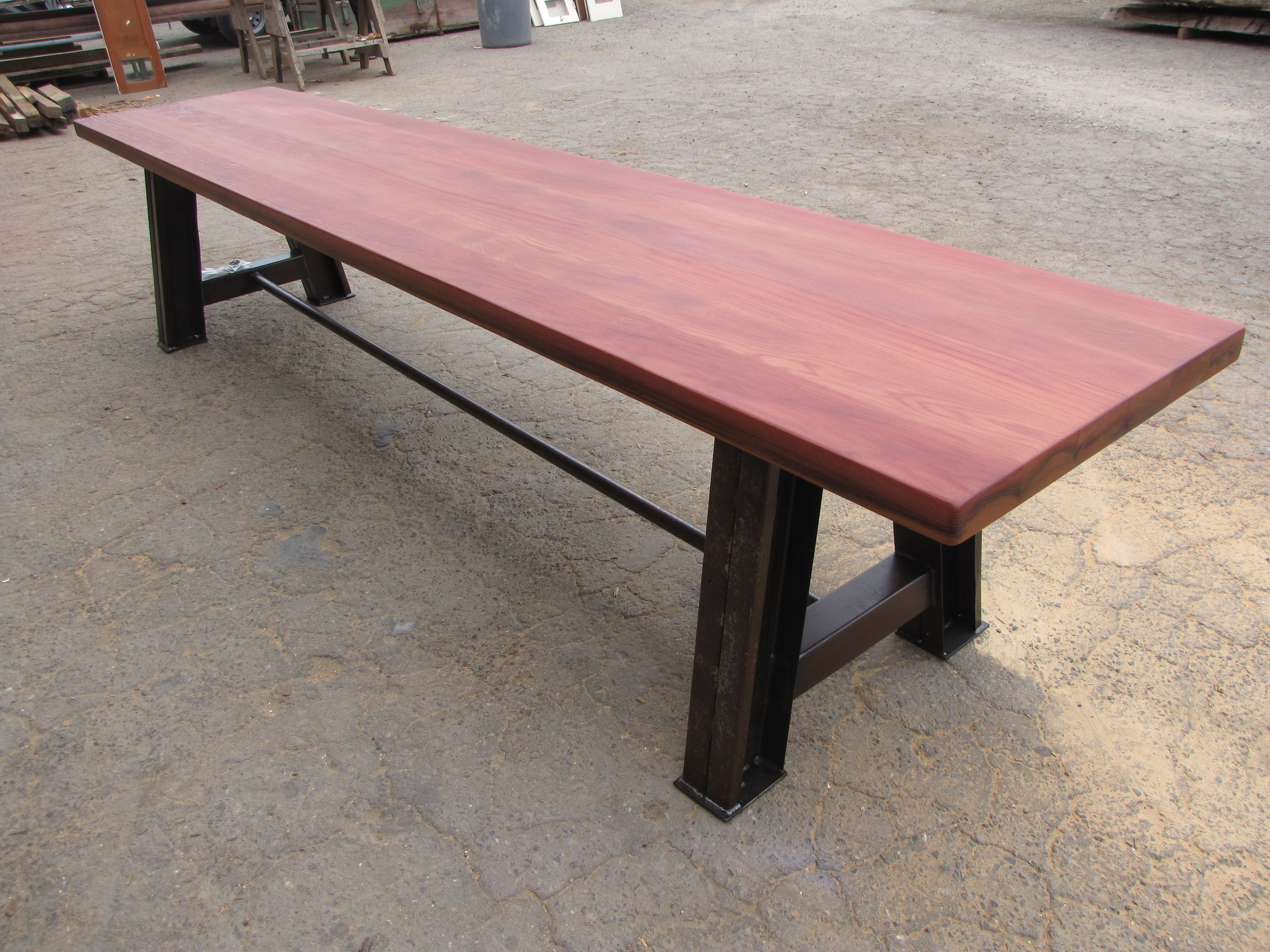 Rodney Strong old growth redwood wine tank stave table top