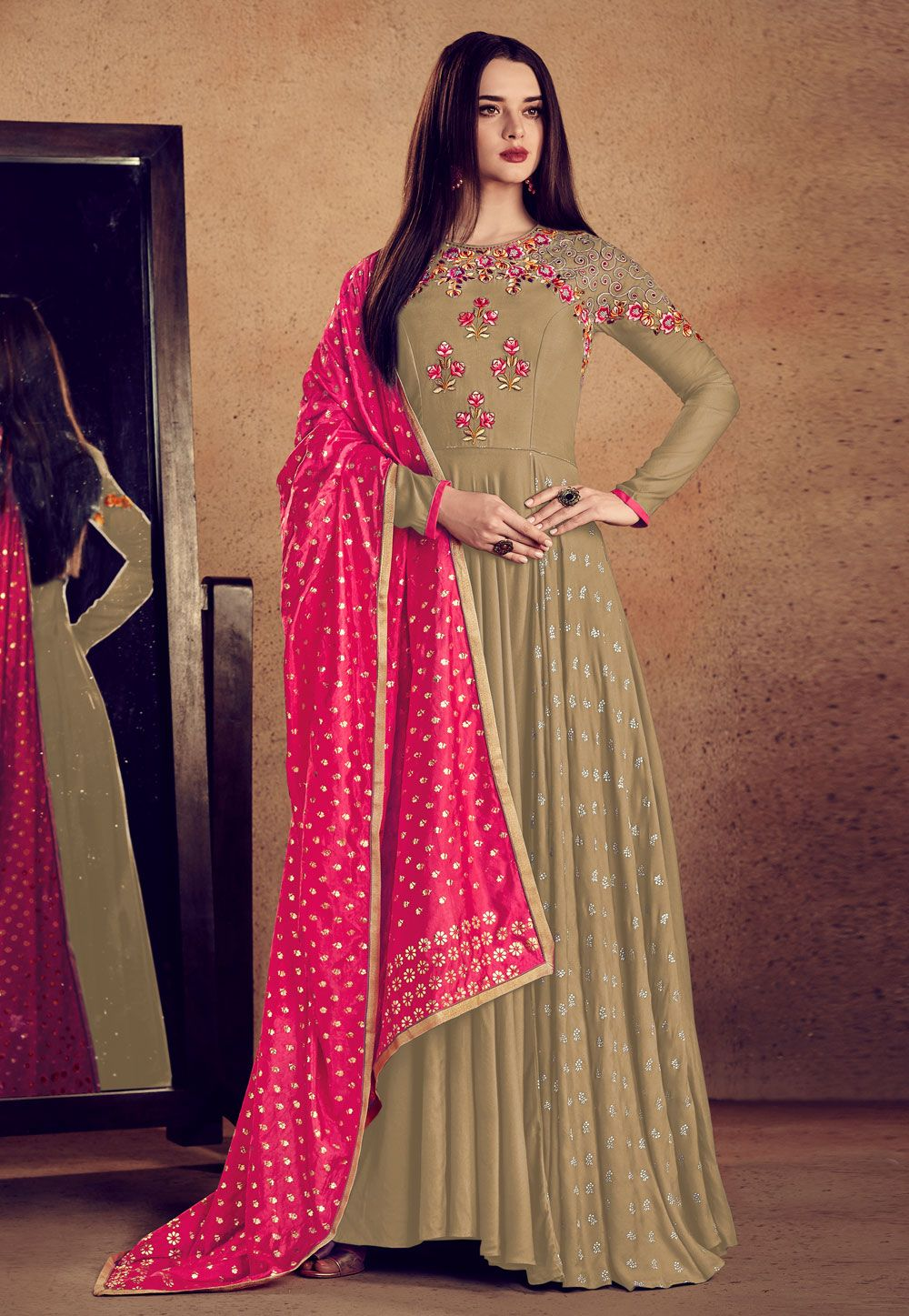 44cefd6123ba Buy Beige Rayon Readymade Ankle Length Anarkali Suit 163345 online at  lowest price from huge collection of salwar kameez at Indianclothstore.com.
