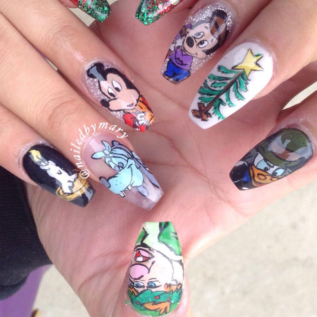 Mickey\'s Christmas Carol Disney coffin ballerina nail art nails ...