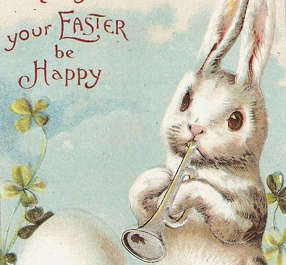 1910 Postcard Easter White Rabbit Toots Horn