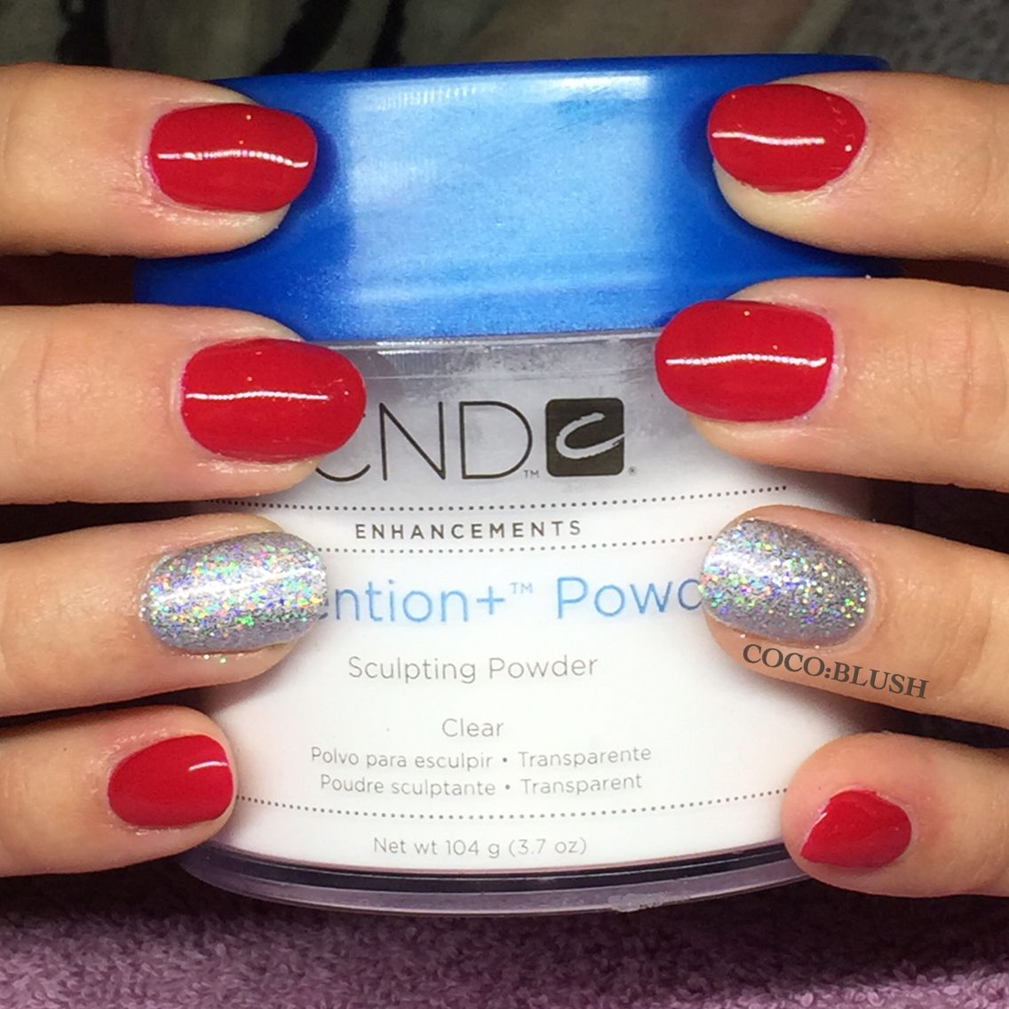 Very natural short acrylics enhancements with cnd shellac. Red nails ...