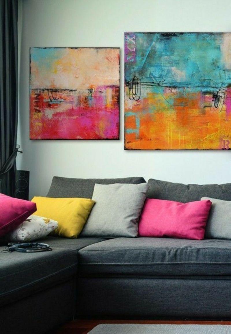 Farbgestaltung Wohnzimmer abstrakte Bilder Hingucker | Bunte ...