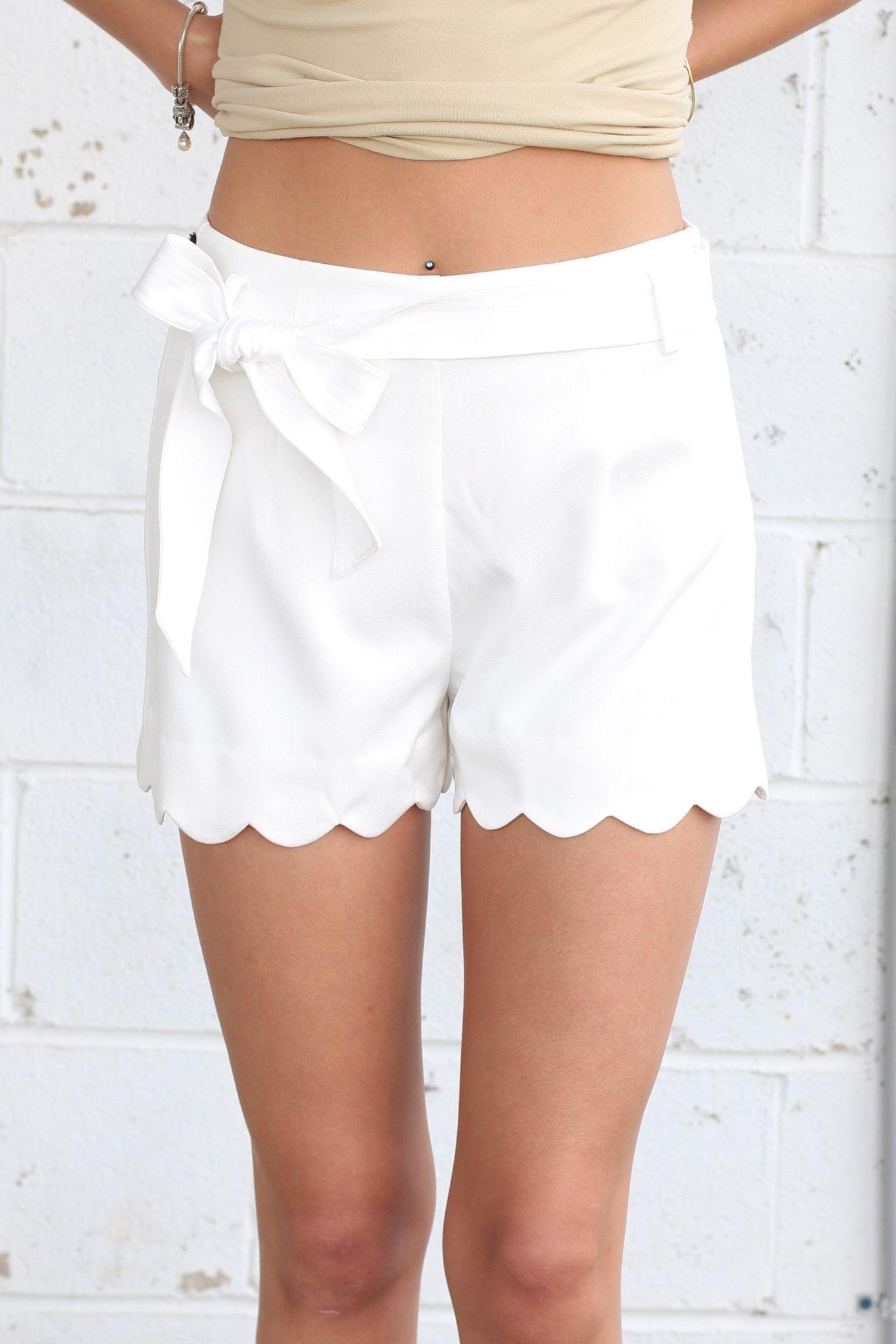 Bow tie scalloped shorts off white white shorts pinterest